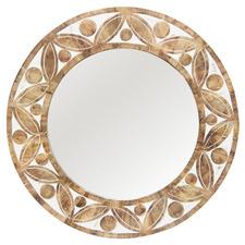 Natural Abdera Round Mango Wood Mirror