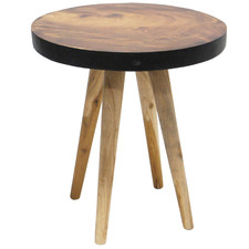 Natural & Black 55cm Jensen Wooden Side Table