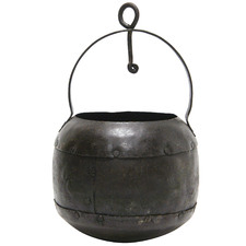 Antique 18cm Iron Hanging Planter Pot