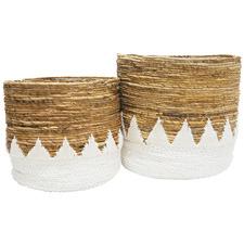 2 Piece Natural & White Raffia Baskets