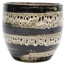 Black Tigra Speckled 23cm Ceramic Planter