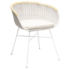 White & Natural Pablo Rattan Dining Chair