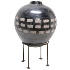 Black Dash Ceramic Vase on Stand