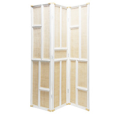 Natural & White 3 Panel Rattan Room Divider