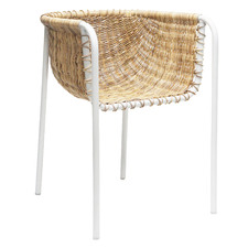 Natural & White Rattan Dining Chair