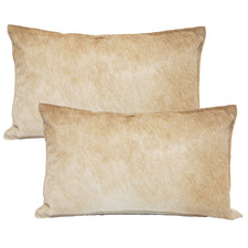 Beige Cowhide Leather Cushions (Set of 2)