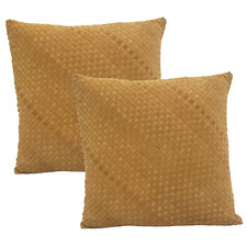 Tobacco Suede Leather Cushions (Set of 2)