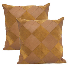 Camel Goat Leather Cushions (Set of 2)
