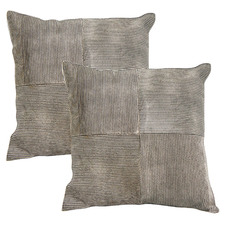 Stripe Cowhide Leather Cushions (Set of 2)