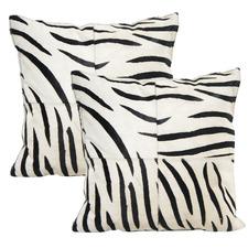Zebra Cowhide Leather Cushions (Set of 2)