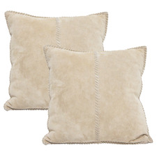 Beige Suede Leather Cushions (Set of 2)