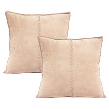 Old Rose Suede Leather Cushions (Set of 2)