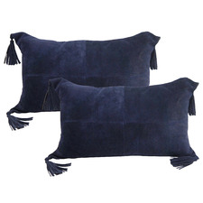 Denim Tasselled Suede Leather Cushions (Set of 2)
