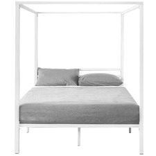 White Cytus Canopy Bed Frame