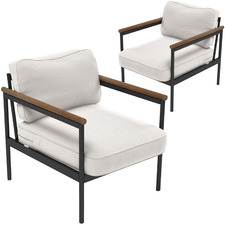 Savannah Steel Outdoor Framed Armchairs (Set of 2)