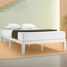 White Agness Pine Wood & Steel Bed Base
