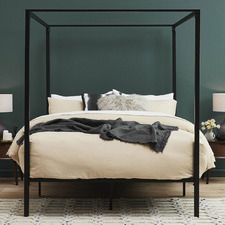 Black Cytus Canopy Bed Frame
