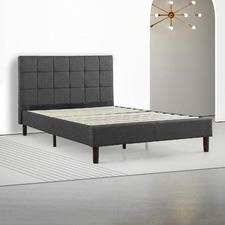 Upholstered Square Stitched Platform Bed Charcoal