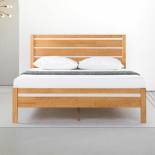 Natural Belvedere Wooden Bed with Headboard