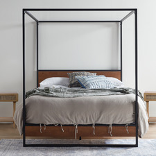 Houston Timber and Metal Canopy Four Poster Bed