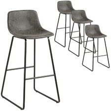 Grey Bailey Faux Leather Barstools (Set of 4)