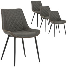 Grey Louis Faux Leather Dining Chairs (Set of 4)
