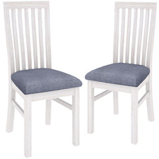 Brushed White Notting Hill Wooden Dining Chairs (Set of 2)