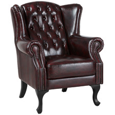 Max Chesterfield Leather Winged Armchair