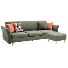 Thurston 3 Seater Upholstered Sofa Bed with Ottoman