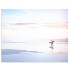 Lone Surfer Sunset Canvas Wall Art