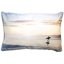 Lone Surfer Sunset Cotton Cushion