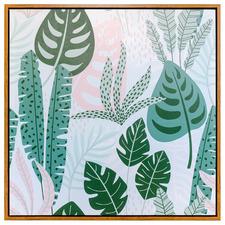 Pink Leaf Foliage Framed Canvas Wall Art