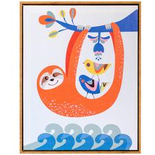 Artist Lab Sloth Framed Canvas Wall Art