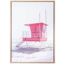 Pink Beach Lifesaving Summer Beach II Framed Canvas Wall Art