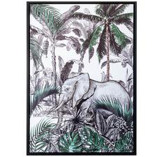 Elephant Jungle Forest Framed Canvas Wall Art