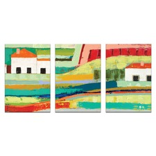 Farm House Triptych Stretched Canvas