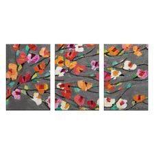 Silver Magnolia Triptych Stretched Canvas