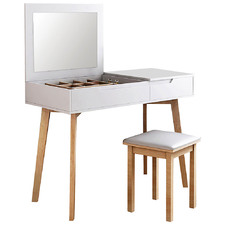 White Naan Dressing Table & Stool Set with Jewellery Cabinet