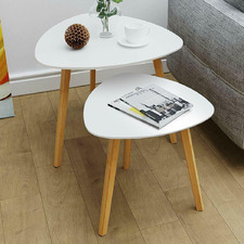 2 Piece White Aurora Side Table Set