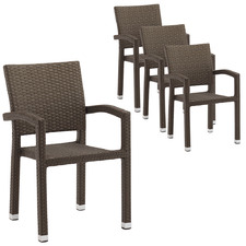 Felice PE Rattan Outdoor Dining Chairs (Set of 4)