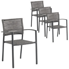 Dark Grey Pierre Outdoor Dining Chairs (Set of 4)