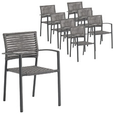 Dark Grey Pierre Outdoor Dining Chairs (Set of 8)