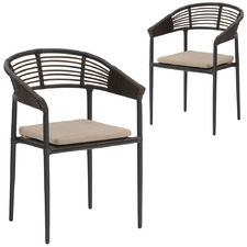 Dark Brown Quinton Outdoor Dining Chairs (Set of 2)