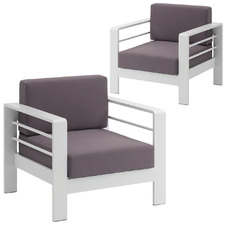 White Amariah Outdoor Armchairs (Set of 2)
