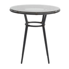 Dark Brown Glass-Top Outdoor Side Table