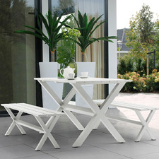 6 Seater White Jacklyn Outdoor Table & Bench Set
