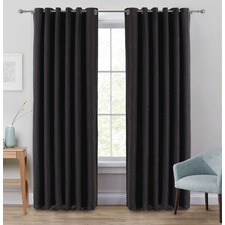 Charcoal Portland Eyelet Blockout Curtains (Set of 2)