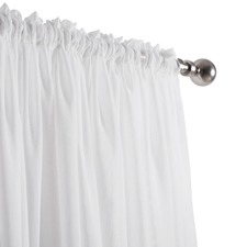 White Hampshire Rod Pocket Single Panel Voile Curtain