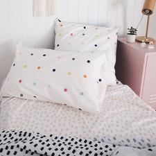 White Spot & Dot Cotton Percale Standard Pillowcase