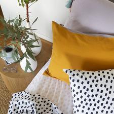 Gold & Lilac Cotton Chambray Standard Pillowcase